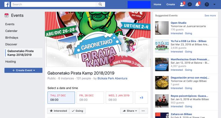Ejemplo de la página de un evento de un negocio local en Bizkaia