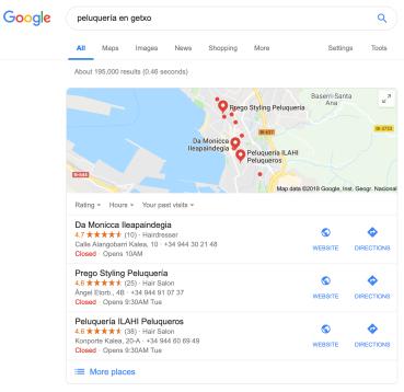 Resultado de búsqueda peluquería en Getxo y recomendaciones de Google Maps