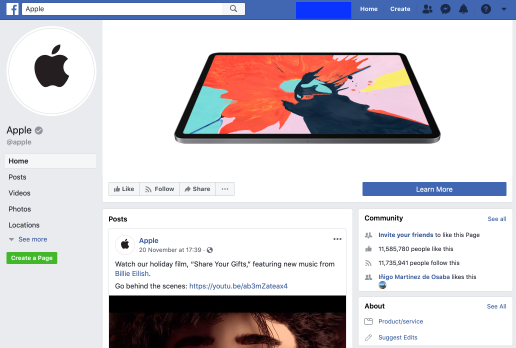 Página de Facebook Business de Apple promocionando el nuevo iPad Pro